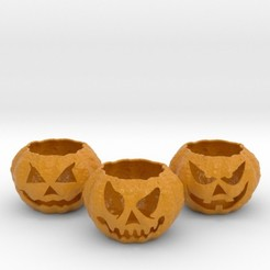 3jacks.jpg Download STL file 3 Jack-o'-lantern Tealight Holders • Object to 3D print, iagoroddop