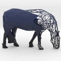 Descargar modelos 3D para imprimir Semiwire Low Poly Grazing Horse, iagoroddop