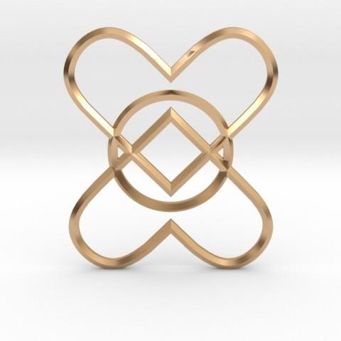 Descargar modelos 3D para imprimir 2 Hearts 1 Ring Pendant, iagoroddop
