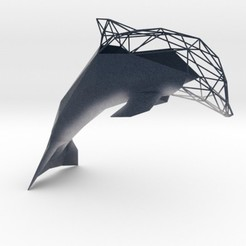 Download 3D printer templates Low Poly Semiwire Dolphin, iagoroddop