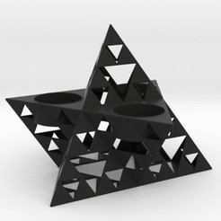 Descargar archivos STL Truncated Sierpinski Merkaba Triple Tealight Holder, iagoroddop
