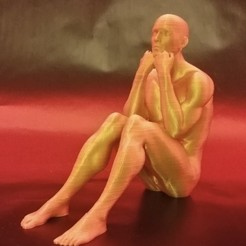 3d model Statue seated man, jmmprog