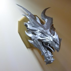 Download free STL Skyrim Alduin Dragon wall Trophy, raffosan