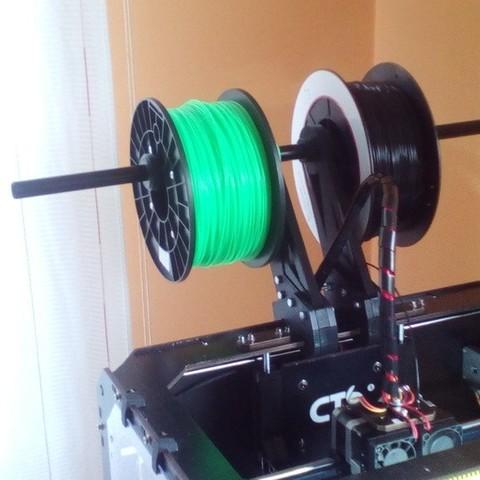 Download free 3D printing models Double-quad spoolholder for CTC/flashforge/replicator WOOD shell models, raffosan
