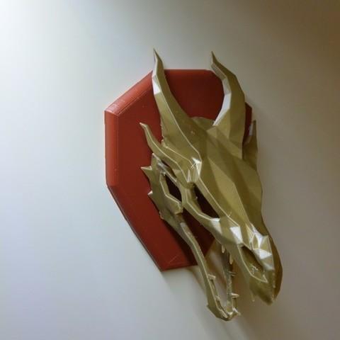f02450b559b1ff9dea1d687c481935ad_display_large.JPG Download free STL file Skyrim skull Dragon wall Trophy • 3D printable model, raffosan