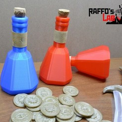 Download free STL files Skyrim health and mana potion  (lesser potions) props replica, raffosan