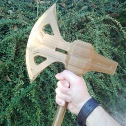 Download free 3D printer files Skyrim dwarven one hand axe , 3d printable version for cosplay and props, raffosan