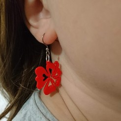 DSC_2428.JPG Télécharger fichier STL Boucles d'oreilles hibiscus ou pendentif hibiscus  • Objet pour impression 3D, selinav42