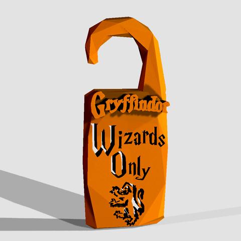 """Descargar archivos STL """"SÓLO WIZARDS"""" - Gryffindor HOUSE - HARRY POTTER - NO DISTURBE, adam_leformat7"""