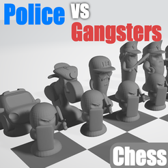 Fichier STL gratuit Chess Game : Police vs Gangsters by Objoy Creation, objoycreation