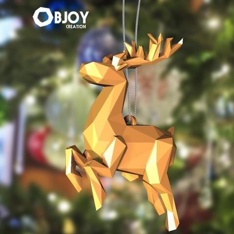 Archivos 3D gratis Reno de Papá Noel lowpoly - Para el árbol de Navidad, objoycreation