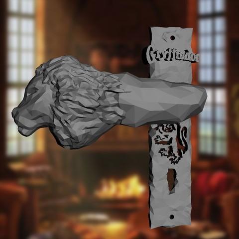 Download STL file Gryffindor Door Handle - Right and Left, adam_leformat7