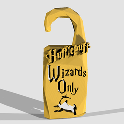 "Descargar archivo 3D ""SÓLO WIZARDS"" - Hufflepuff HOUSE - HARRY POTTER - NO DISTURBE, adam_leformat7"
