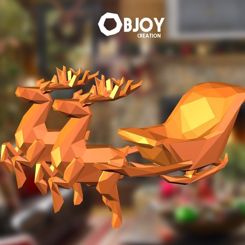 Télécharger fichier impression 3D Santa's sleigh lowpoly (traineau du père noël), adam_leformat7