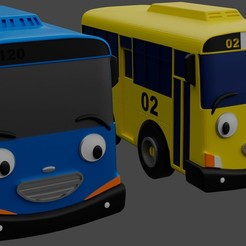 Download STL file Two Little Buses • Template to 3D print, MASS3D