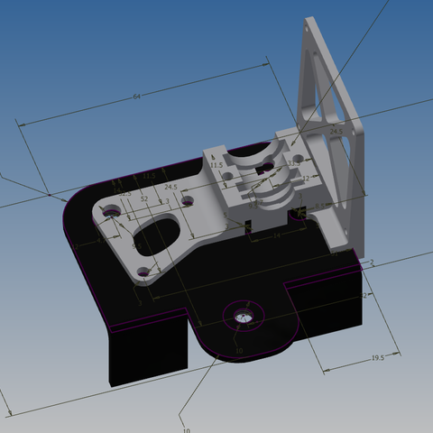 Download free 3D printing templates CR-10 E3D extruder holder, Leluikom