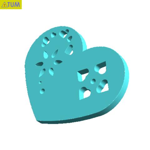 Download free 3D printer templates Heart Plate Symbol No.2, Tum