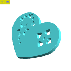 Download free 3D printer templates Heart Plate Symbol No.2, Tum