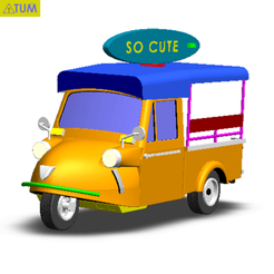 "Download STL files TUK TUK 3 WHEEL FROG CAR ""SO CUTE"", Tum"