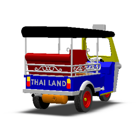 2019-03-06_003433.png Download STL file TUK TUK 3 WHEEL CAR THAILAND No.1 • 3D printable model, Tum