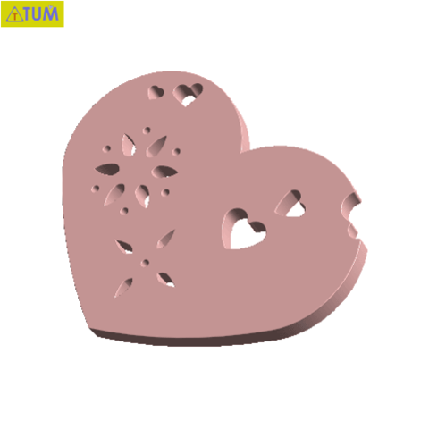 Free 3D printer designs Heart Plate Symbol No.4, Tum