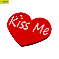 "2019-02-18_011604.png Download STL file Heart Plate Symbol "" Kiss Me ! "" • 3D print design, Tum"