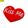 "Download free 3D printer templates Heart Plate Symbol "" Kiss Me ! "", Tum"