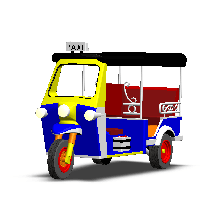 2019-03-06_003254.png Download STL file TUK TUK 3 WHEEL CAR THAILAND No.1 • 3D printable model, Tum
