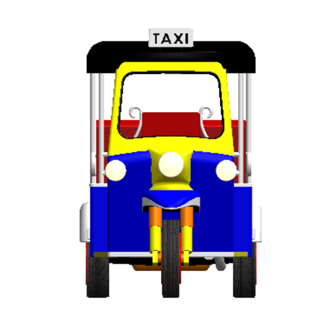 2019-03-06_003534.png Download STL file TUK TUK 3 WHEEL CAR THAILAND No.1 • 3D printable model, Tum