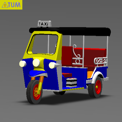 2020-03-05_190213.png Download STL file TUK TUK 3 WHEEL CAR THAILAND No.1 • 3D printable model, Tum