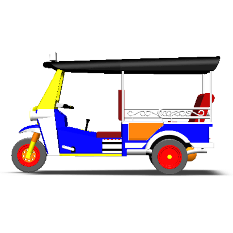 2019-03-06_003335.png Download STL file TUK TUK 3 WHEEL CAR THAILAND No.1 • 3D printable model, Tum