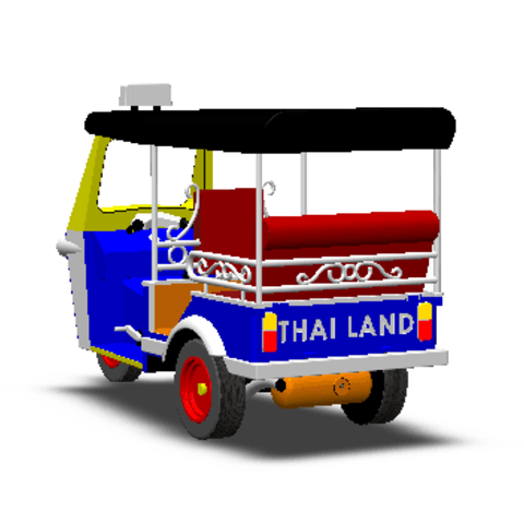 2019-03-06_003408.png Download STL file TUK TUK 3 WHEEL CAR THAILAND No.1 • 3D printable model, Tum
