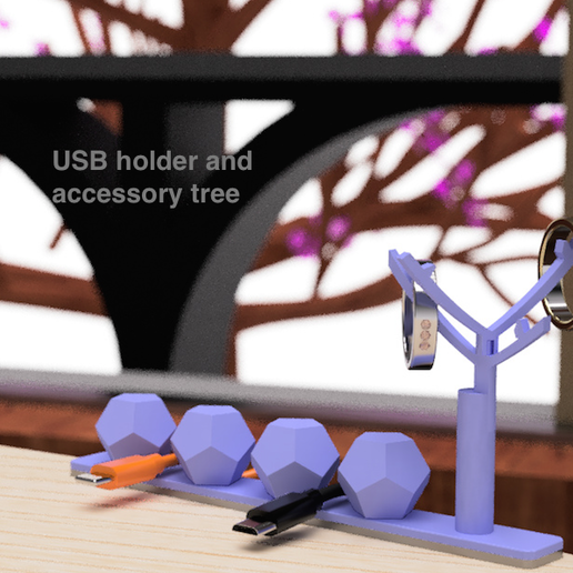 Download free STL file USB holder and accessory tree • 3D printer template, EIKICHI