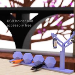 Descargar modelo 3D gratis Soporte USB y árbol de accesorios, EIKICHI
