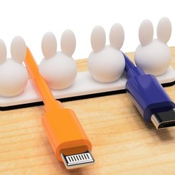 1.jpg Download STL file USB cable holder (Rabbits type) • 3D print design, EIKICHI