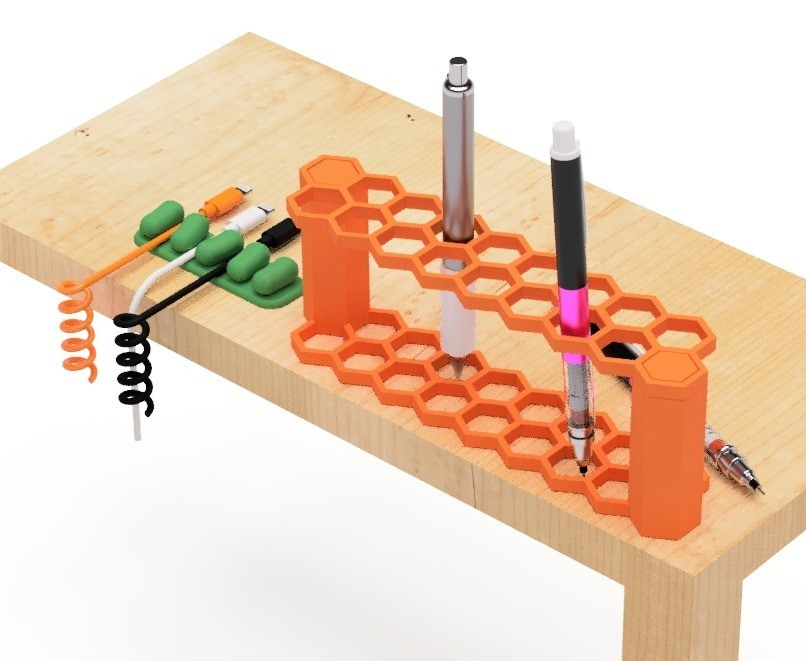 2.jpg Download free STL file Pen holder (hexagon type) • 3D printing model, EIKICHI