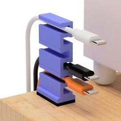 Free STL files USB cable holder for narrow space, EIKICHI