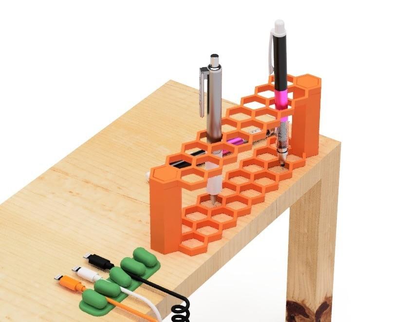 1.jpg Download free STL file Pen holder (hexagon type) • 3D printing model, EIKICHI