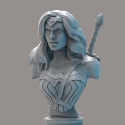 Download free 3D printing designs wonderwoman bust, cobal