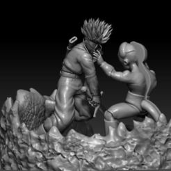 Free 3D printer model Mecha Frieza VS Future Trunks, cobal