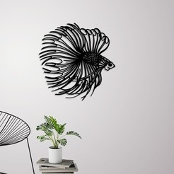 Download 3D printing models Betta fish wall decoration, 3dprintlines