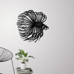 Télécharger fichier imprimante 3D Décoration murale de poisson Betta, 3dprintlines