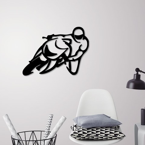 STL file Motorbike racer wall decoration , 3dprintlines