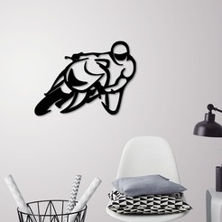 Presentation1.jpg Download STL file Motorbike racer wall decoration  • Design to 3D print, 3dprintlines
