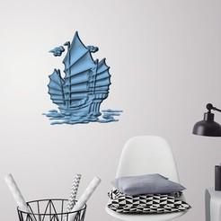 STL Old ship 3D wall decoration, 3dprintlines