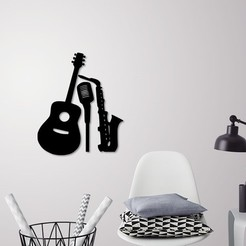 Download STL Music instruments wall decoration, 3dprintlines