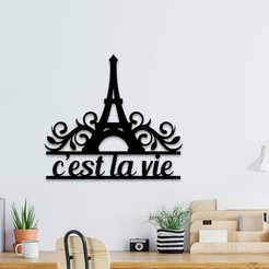 Download 3D printer templates Eiffel Tower wall art, 3dprintlines