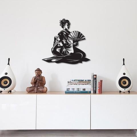 Download 3D printer designs Geisha Japanese Lady wall art, 3dprintlines