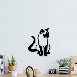 Download 3D printing designs A sitting cat wall decoration, 3dprintlines