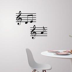 Télécharger fichier imprimante 3D Décoration murale de notes de musique, 3dprintlines